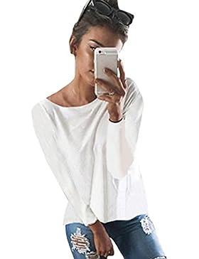 Minetom Donna Manica Lunga Camicetta Maglietta T-Shirt Maglia Blusa Sexy Indietro Collo V Pullover Maglie a Manica...
