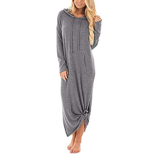 Kleid Damen Herbst Winter,Innerternet Frauen Strickkleid Langarm Lang Strickpullover Sweatshirt Hoodie Casual Warm Lang Kleid