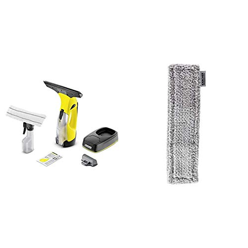 Kärcher Akku-Fenstersauger WV 5 Plus Non Stop Cleaning Kit + Kärcher WV Mikrofaser-Wischbezug Outdoor, 2 Stück, 2.633-131.0