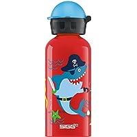 Sigg Piratas bajo el Agua, Botella para niños, 0.4 L, Prueba de Fugas, sin BPA, Aluminio, Rojo