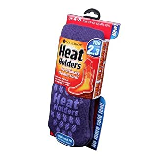 Womens/Ladies Heat Holders Extra Warm Thermal Slipper Socks (2.3 Tog) (UK 4-8 EURO 37-42) (Lavender)