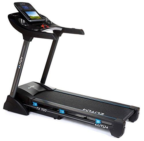 Elitum Laufband TX700 Bluetooth, AUX, eingebaute Lautsprecher, klappbar, 1-16 km/h, 2,5 PS, 9 Trainingsprogramme, belastbar bis 150 kg (Mit Neigung Laufband Automatischer)