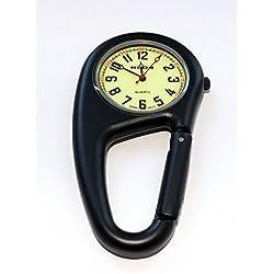 Black Clip On Carabiner Metal Klox Fob Watch Luminous Dial Paramedic Doctor Nurse Unisex Men Women