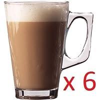 Brand new glass Coffee Latte Mugs 8.66oz 200ml 11.1cm high set of 6 by Utopia
