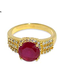 Florishkart Exclusive Simulated Ruby & White Cz Stone Gold Plated Ring