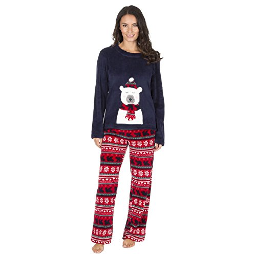 Ladies Christmas Fleece Pyjamas, Festive Warm Thermal PJs Set, Size 8-22, B27, By Daisy Dreamer® - 41jzUexx2QL - Ladies Christmas Fleece Pyjamas, Festive Warm Thermal PJs Set, Size 8-22, B27, By Daisy Dreamer®