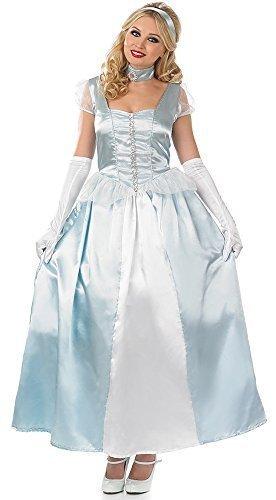 Damen Erwachsene Lange Blaue Prinzessin Märchen Märchen Voll Länge Kostüm Prinzessin Party Kostüm Outfit UK 8-22 Übergröße - Blau, (Erwachsene Cinderella Outfit)