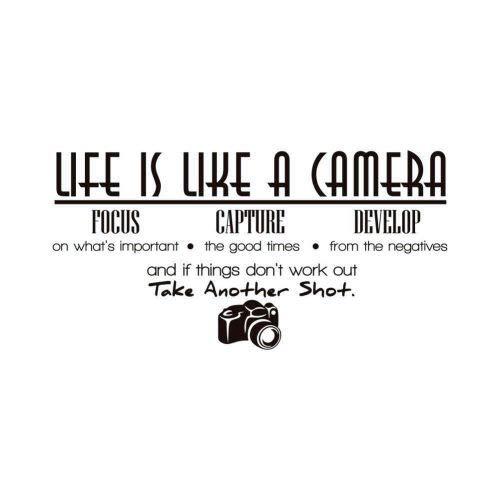 BOENTA Wandtattoos Englisch Das Leben Ist Wie Kamera Kamera Wohnzimmer Schlafzimmer Wandaufkleber Abnehmbare Wandtattoos Wohnkultur - Eine Das Leben Kamera Ist Wie