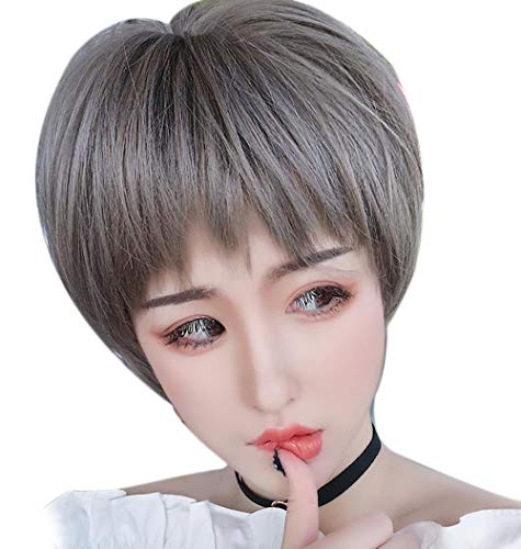 SEXHAIR Mode Kurze bob perücke, Erwachsene Hitzebeständige Haarteile mit Unebenen Fringe synthetische Ombre nass für Frauen Damen mädchen Kostüm Cosplay Party Costume Daily (Oma ash) Ombre Fringe