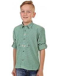 Kinder Trachtenhemd von Isar Trachten, sehr gut passend zur Lederhose, Farbe:Grün;Größe:86