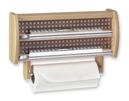 Preisvergleich Produktbild Emsa 2501032600 3-fach-Schneidabroller für Folie und Küchenrolle, Echtes Buchenholz, Buche, Scandic
