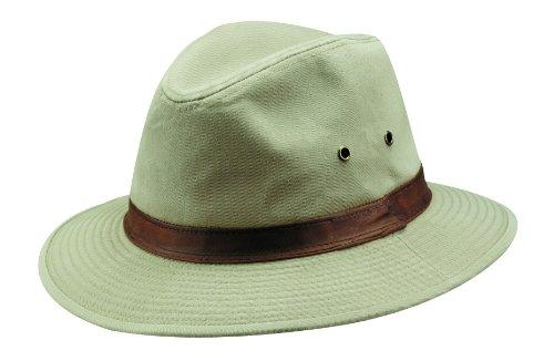 Dorfman Pacific Hats Herren UV Hüte, Khaki, 61 cm, 863L-KAKI4 (Trim Fedora)
