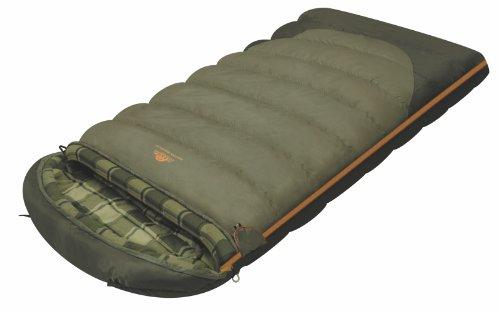 ALEXIKA Camping & Outdoor Schlafsack Siberia Wide Plus, linke Reißverschluss Deckenschlafsacke, grau/kariertes grün-grau, 230 x 100 cm