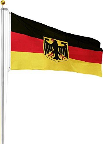 GearUp Aluminium Fahnenmast 6,20m 6,50m 6,80m oder 7,50m Höhe inkl. Deutschlandfahne mit Adler 90x150 Größe 6.5 Meter
