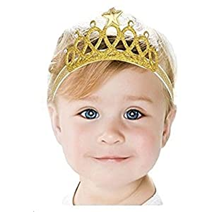 Ziory Gold Fabric Crown Headband For Baby Girl's