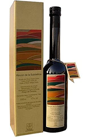 Rincon De La Subbetica- Award Winning, Organic Cold Pressed EVOO Extra Virgin Olive Oil, 2013 Harvest, 17-Ounce Glass Bottle by Almazara De La Subbetica