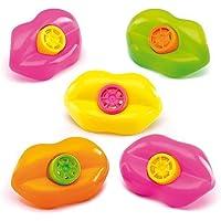 Sungpunet - Lot de 15 jolis sifflets d'anniversaire pour enfant en forme de lèvres - Décoration et fournitures fête, cadeau de Noël