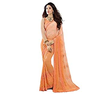 Craftsvilla Womens Orange Chiffon Party & Festival Wear Saree with Blouse Piece