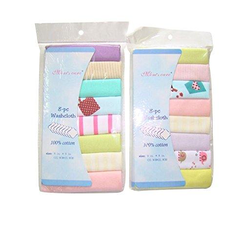 CuteOn Packung mit 8 Weich Baumwoll Baby Gesicht Waschlappen Hand Handtücher Waschen Bad Dusche Wischen Pflege Handtuch 8.27