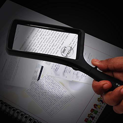 Leselupe 2X 6X Lupe mit LED Licht, Handlupe Vergrößrungglas für Senioren, Schmuck Lupe zum Lesen von Kleingedrucktem, Karten, Münzen, Briefmarken & Schmuck - 4