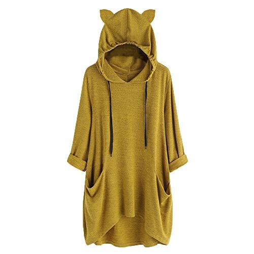 VEMOW Damenmode Tasche Lose Kleid Damen Rundhalsausschnitt beiläufige Tägliche Lange Tops Kleid Plus Größe(Y3-a-Grün, EU-48/CN-XL)