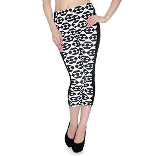 Frauen Multi Print Stretch Legging engen Hosen, # 28 GOLD (Engen Hosen Print-leggings)