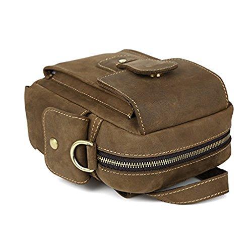 YiJee Herren Echtleder Taktisch Fanny Packs Brustweite Klein Gürteltasche Single Schulter Tasche Tote Handtasche Braun (14cm*8cm*18cm)