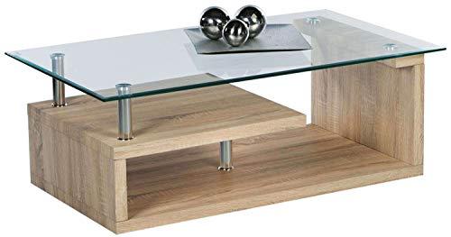 AVANTI TRENDSTORE - Sharon - Tavolino da Soggiorno con Piano Tavolo in Vetro Trasparente, Telaio in Laminato di Quercia Sonoma con Metallo Cromato, Dimensioni: Lap 110x44x60 cm