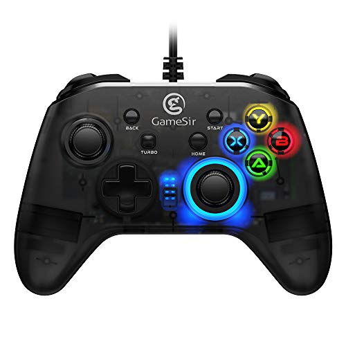 GameSir T4w Controller PC con Cavo USB Gamepad PC Joypad PC Wired Gamepad per PC Windows 7/8/10 con Retroilluminazione a LED Joystick Vibrazione, Dual Shock Game Gamepad Design Semi-Trasparente
