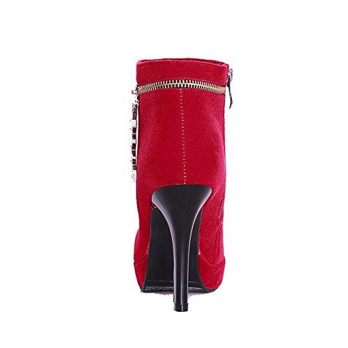 AllhqFashion Damen Reißverschluss Rund Zehe Hoher Absatz Knöchel Hohe Stiefel mit Anhänger Rot