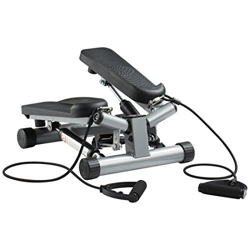 Ultrasport Swing Stepper inklusive Trainingsbändern / Hometrainer Stepper mit verstellbarem Widerstand und kabellosem Trainingscomputer – Up-Down-Stepper für Einsteiger und Trainierte, klein & kompakt