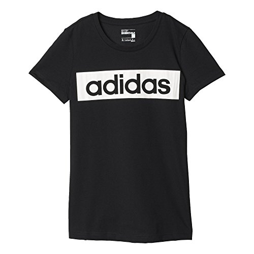 Adidas Ess Linear Tee Maglia per Donna, Nero/Bianco (Nero/Bianco), M