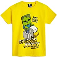 Minecraft Camiseta Niño, Ropa Niño Algodón 100%, Camisetas de Manga Corta con Diseño Chicken Jockey, Merchandi