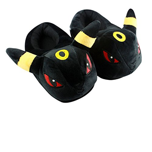 Unisex Wanziee Pokemon Umbreon Plush Slippers - Pokemon Go- Umbreon Animal Cosplay (Black and Yellow) - One size slippers for Dress Up Cartoon Party Halloween for adults/girls/boys (fits UK sizes- 3.5-8)