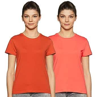 Amazon Brand - Symbol Women's solid Plain Regular Fit T-Shirt (Pack of 2) (RN-PO2-COMBO11_B Orange & Coral Pink_S)