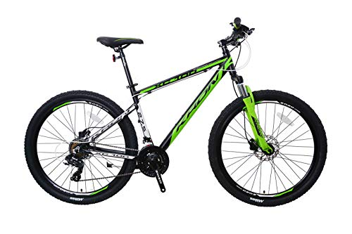 KRON XC-100 Hardtail Aluminium Mountainbike 27.5 Zoll, 21 Gang Shimano Kettenschaltung mit V-Bremse | 18 Zoll Rahmen MTB Erwachsenen- und Jugendfahrrad | Schwarz & Grün