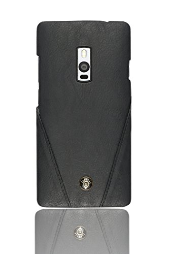 Parallel Universe Oneplus Two Back Cover Case Premium Stitched Leather Hard Backcover - Black