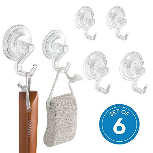 iDesign Power Lock Handtuchhaken, Badezimmerhaken aus Kunststoff, 6er-Set Haken mit Saugnapf, durchsichtig -