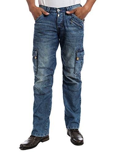 Timezone Herren Cargo Jeanshose BenitoTZ - Blau (blue marble wash)