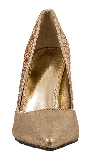 Elara Damen Pumps | Spitze Stiletto High Heels | Moderne Pumps Gold Marseille