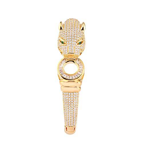 18K Gold Zirkon offenes Armband, Strass Cheetah Gesichts Armband für Damen Exquisite Modeschmuck (Gold, Silber),02 Strass Cheetah