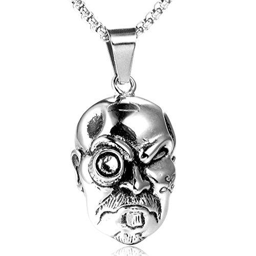 mcsays Hip Hop Halskette Punk personility Skull Kopf Anhänger Edelstahl nordischen Wikinger Ketten Herren Fashion Jewelry Accessories (Schmuck Box Organizer Billig)