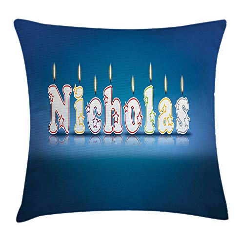 ziHeadwear Nicholas Throw Pillow Cushion Cover, Surprise Party for The Birthday Boy Child`s Name with Burning Candles, Decorative Square Accent Pillow Case, 18 X 18 inches, Blue and Multicolor Nicholas Square Candy