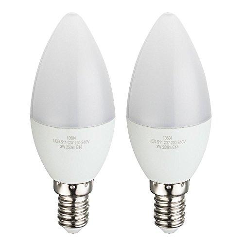 2er Set LED 3 Watt Leuchtmittel Energie Spar Lampen warmweiß Sockel E14 EEK A+