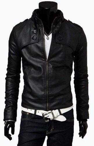 Biker da uomo Slim Fit tasto nero in pelle sintetica Jacket-all misure disponibili. Chiedere per colori Black XL