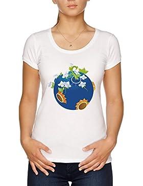 Vendax Flores En Los Planeta Camiseta Mujer Blanco