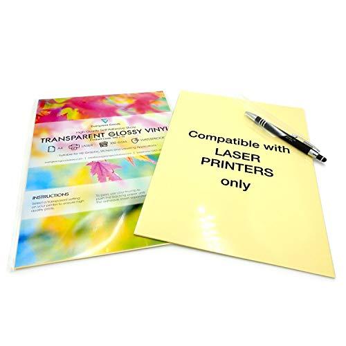 10 Fogli di carta adesiva impermeabili, formato A4, in vinile auto-adesivo di alta qualità, stampabili a laser, colore: trasparente