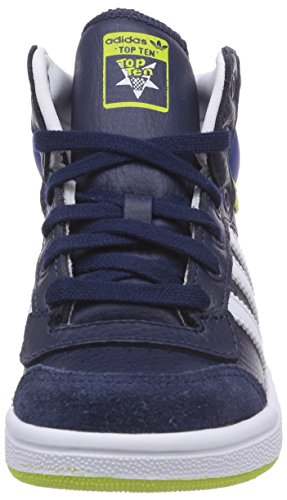 adidas Top Ten Hi, Unisex-Kinder Hohe Sneakers Blau (Collegiate Navy/Ftwr White/Collegiate Royal)