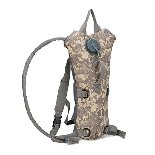 Lanlan Hydration Rucksack mit 3L Blase Wasserdichte Tasche verstellbaren gepolsterten Schulterriemen für Laufen Wandern Camping Radfahren Skifahren Herren Frauen, ACU digital (Acu Vintage Digital Camo)