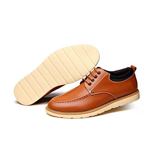 Lyzgf Hommes Jeunes Mode Chaussures D'affaires Résistant Occasionnel Dentelle En Cuir Jaune